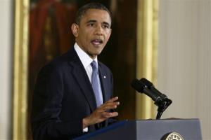 President Obama makes an opening statement during his first news conference after Election Day.
