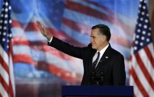 Mitt Romney waves to supporters during his election night rally, Wednesday, Nov. 7, 2012, in Boston.