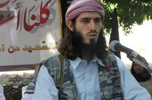 In this Wednesday, May 11, 2011 file photo, American-born Islamist militant Omar Hammami, 27, also known as Abu Mansur al-Amriki, speaks during a news conference held by the militant group al-Shabab.
