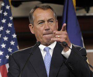 House Speaker John Boehner of Ohio calls on a reporter during a news conference on Capitol Hill, Nov. 9, 2012.