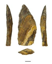 This undated image provided by Jayne Wilkins shows different angles of an estimated 500,000-year-old stone point from Kathu Pan, South Africa.