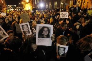 Protestors outside Leinster House in Dublin Nov.  14, 2012 against the death of Savita Halappanavar, pictured, aged 31, who was 17 weeks pregnant, after suffering a miscarriage and septicaemia.