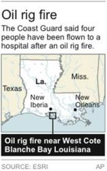Map locates oil rig fire on the south-central Louisiana coast.
