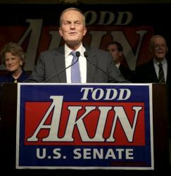 Todd Akin speaks to supporters after losing to Sen. Claire McCaskill, Tuesday, Nov. 6, 2012, in Chesterfield, Mo.