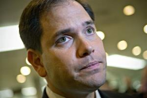 Sen. Marco Rubio, R-Fla., speaks to reporters after leaving a closed-door meeting at the Capitol in Washington, Tuesday, Nov. 13, 2012.