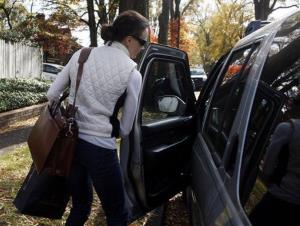 Paula Broadwell gets into her vehicle on Lexington Avenue in Charlotte, NC, Monday, Nov. 19, 2012.