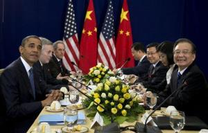 President Obama meets with Chinese Premier Wen Jiabao, right, during the East Asia Summit at the Peace Palace in Phnom Penh, Cambodia, Tuesday, Nov. 20,  2012.