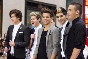 One Direction members, from left, Harry Styles, Niall Horan, Louis Tomlinson, Zayn Malik and Liam Payne perform on NBC's Today show on Tuesday, Nov. 13, 2012 in New York.