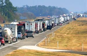 Traffic backs up on the eastbound lane of Interstate 10 on Thanksgiving day Nov. 22, 2012 after a multi-vehicle accident in southeast Texas.