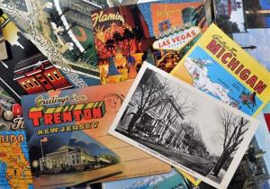 This Aug. 3, 2012 photo shows a post card collection in Cross Lanes, W. Va.