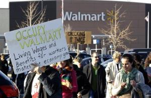 People protest against Walmart on Black Friday, Nov 23, 2012, in Secaucus, NJ.