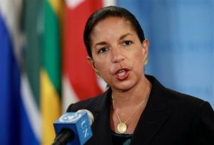 US Ambassador to the United Nations Susan Rice addresses members of the media at UN headquarters Saturday, April 14, 2012.