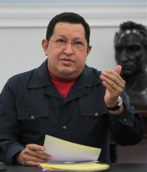 Venezuela President Hugo Chavez speaks at the Miraflores presidential palace in Caracas, Venezuela, on Nov. 8, 2012.