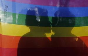 A gay couple kiss during a march on International Day Against Homophobia in Quito, Ecuador,.