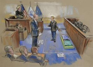 In this courtroom sketch, Army Pfc. Bradley Manning, center, describes a layout of his pretrial confinement cell in a Quantico, Va.