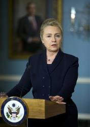 Hillary Clinton speaks to the media during a news conference in Washington, Wednesday, Nov. 28, 2012.