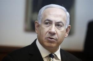 Israeli Prime Minister Benjamin Netanyahu attends the weekly cabinet meeting in his Jerusalem office, Sunday, Dec. 2, 2012.