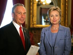 In this photo released by the New York City Mayor's Office, NYC Mayor Michael Bloomberg stands with Sen. Hillary Rodham Clinton, D-NY, in New York City Hall, Thursday, July 17, 2008.