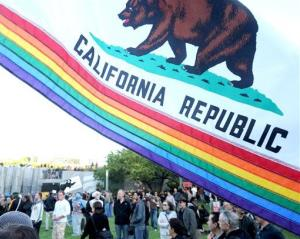 A modified California State flag sporting a rainbow flies at the same-sex marriage rally in San Francisco on Tuesday, May 26, 2009.