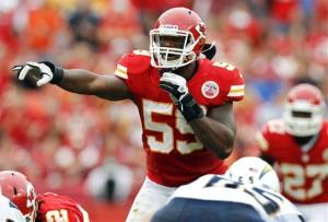 In this Sept. 30, 2012 file photo, linebacker Jovan Belcher gestures at the line of scrimmage during a game against the San Diego Chargers in Kansas City, Mo.