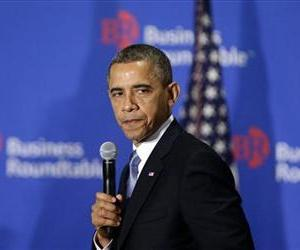 President Barack Obama pauses as he speaks about the fiscal cliff at the Business Roundtable, an association of chief executive officers, in Washington, Dec. 5, 2012.