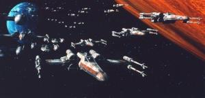 In this 1977 image provided by 20th Century-Fox Film Corporation, X-wing fighters attack the Death Star in a scene from Star Wars.