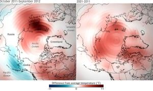 This climate map shows how temperatures around the Arctic have increased in the past decade compared to the 30 years prior.