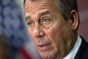 House Speaker John Boehner of Ohio speaks to reporters on Capitol Hill Wednesday.