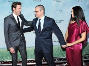 John Krasinski, Matt Damon, and Damon's wife Luciana Barroso attend the premiere of Promised Land at AMC Loews Lincoln Square on Tuesday Dec. 4, 2012 in New York.
