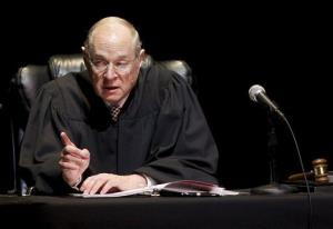 Supreme Court Justice Anthony Kennedy presides over a representation of The Trial of Hamlet at the Shakespeare Center of Los Angeles in 2011.