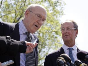 This April 14, 2011 file photo shows Erskine Bowles and Alan Simpson, co-chairmen of the president's deficit reduction commission.