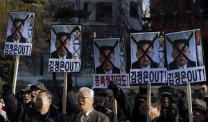 South Korean protesters hold a rally in Seoul denouncing North Korea's rocket launch.
