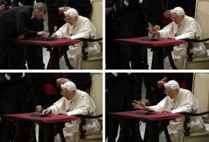 In this four picture combo image, Pope Benedict XVI pushes a button on a tablet at the Vatican, Wednesday, Dec. 12, 2012 in perhaps the most drawn out Twitter launch ever.