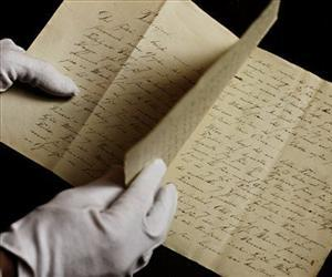 A newly found manuscript of a fairy tale by Hans Christian Andersen is seen in the State Archives in Copenhagen, Dec. 12, 2012. The story of 'The Tallow Candle' might have been written around 1823.