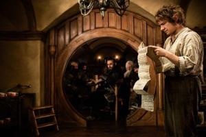 This publicity film image released by Warner Bros. shows Martin Freeman as Bilbo Baggins in a scene from 'The Hobbit: An Unexpected Journey.'