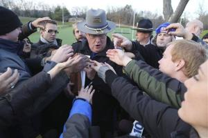Lt. J. Paul Vance of the Connecticut State Police is surrounded by reporters on Saturday, Dec. 15, 2012, in Sandy Hook village of Newtown, Conn.