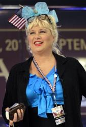Actress Victoria Jackson takes part in a rally before a Republican presidential debate Monday, Sept. 12, 2011, in Tampa, Fla.