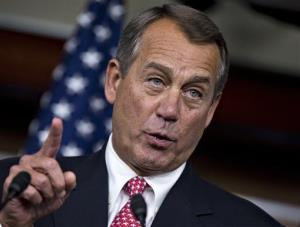 House Speaker John Boehner of Ohio gestures during a news conference on Capitol Hill in Washington, Thursday, Dec. 13, 2012.