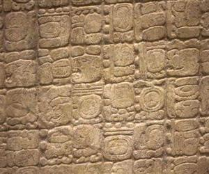 A detail of a replica of the Sixth Monument, which mentions the 13th Baktun, the end of a major 5,125-year cycle in the Mayan Long Count calendar, is seen on display at the Mayan Museum in Cancun.