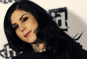 Kat Von D poses at the official launch party for the video game Rage, Friday, Sept. 30, 2011, in Los Angeles. The first-person shooter video game will be released on October 4.