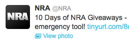 The most recent tweet on NRA's Twitter page.