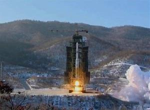 A Unha-3 rocket carrying a satellite is launched on the outskirts of Pyongyang last Wednesday.