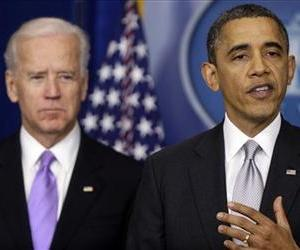 President Barack Obama stands with Vice President Joe Biden as he makes a statement Wednesday, Dec. 19, 2012.