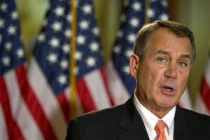 House Speaker John Boehner addresses reporters on the fiscal cliff negotiations Wednesday.