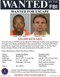 This image provided by the FBI shows the wanted poster for Joseph Banks, left, and, Kenneth Conley.