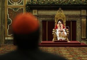 Pope Benedict XVI reads his message on the occasion of the exchange of Christmas greetings with the Roman curia, in the Clementine hall at Vatican, Friday, Dec. 21, 2012.