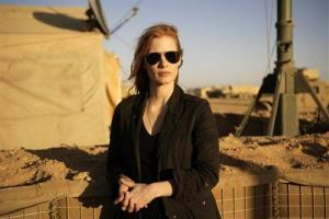 This publicity film image from Columbia Pictures shows Jessica Chastain in a scene from Zero Dark Thirty.