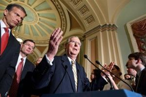 In this May 8, 2012, file photo Senate Minority Leader, Republican Mitch McConnell of Ky., center, with fellow Senate GOP leaders, speaks on Capitol Hill.
