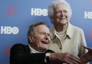 In a Tuesday, June 12, 2012 file photo, President George H.W. Bush, and his wife, Barbara Bush, arrive for the premiere of HBO's documentary on his life.