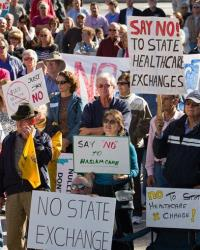 Protesters participate in a tea party rally in Nashville, Tenn.earlier this month to oppose  Tennessee creating a state-run insurance exchange under the federal health care law.